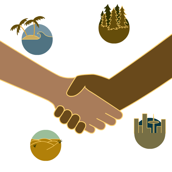 two people shaking hands surrounded by symbols for forests, beaches, deserts, and cities