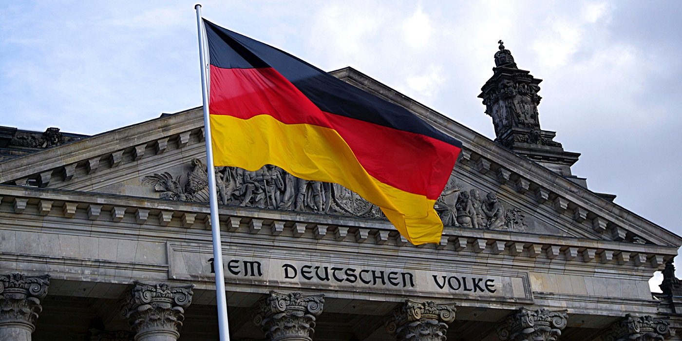 German flag and architecture