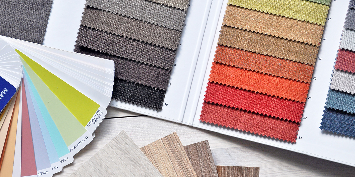 Fabric swatches, flooring samples and color wheel