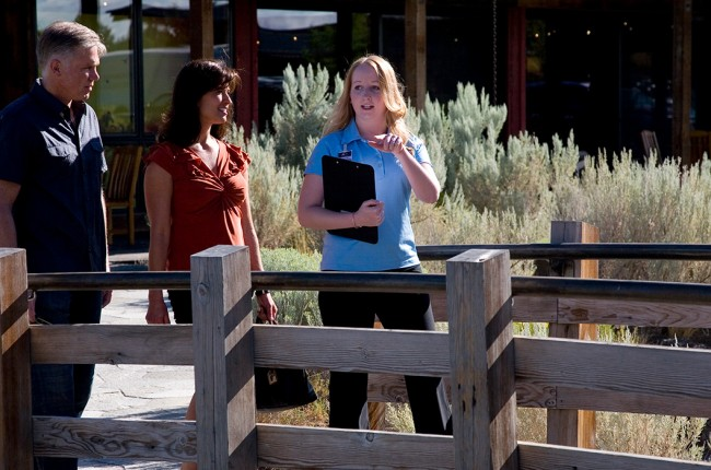 Hospitality Management intern assisting guests at Brasada Ranch