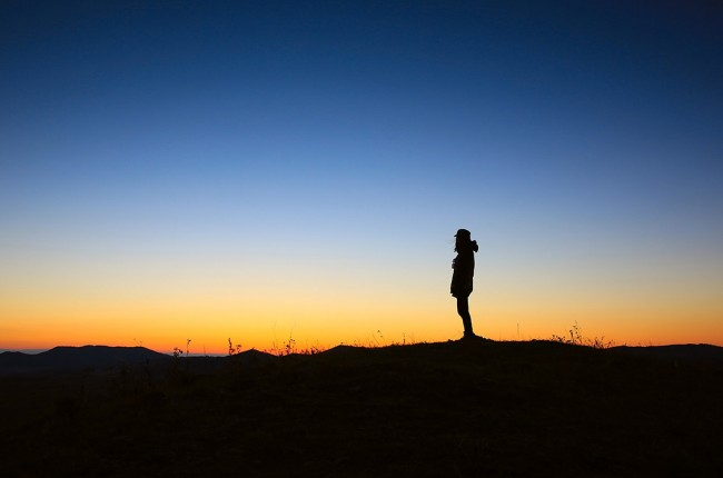 Silhoutte of man at sunrise