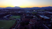 aerial of Weatherford and Marys Peak at sunset
