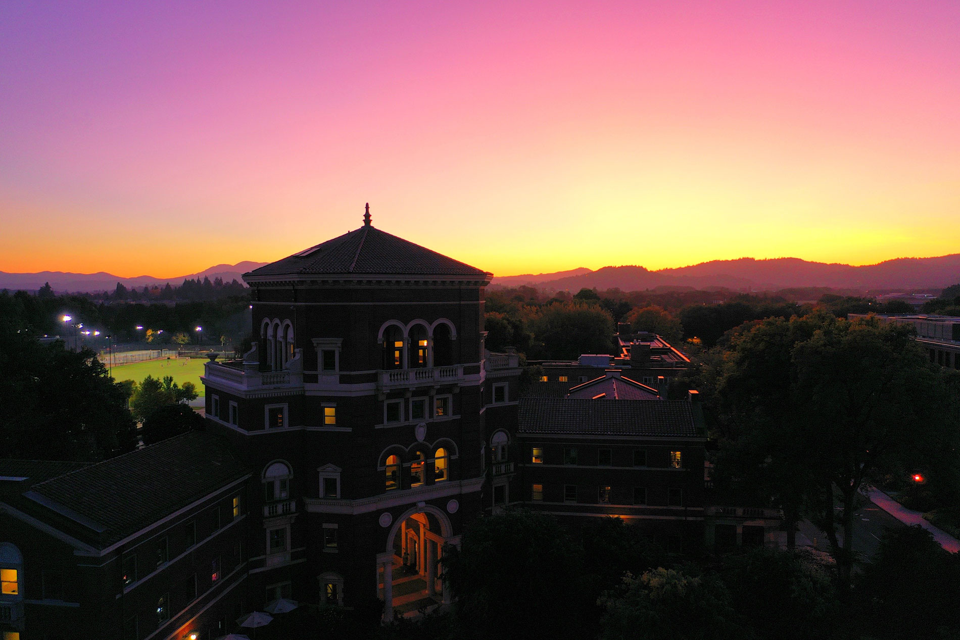 aerial shot of Weatherford at sunset